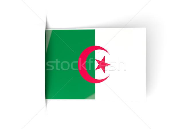 Carré étiquette pavillon Algérie isolé blanche Photo stock © MikhailMishchenko