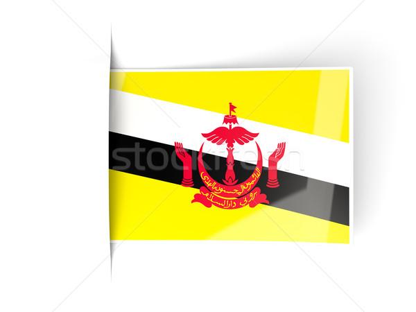 Vierkante label vlag Brunei geïsoleerd witte Stockfoto © MikhailMishchenko