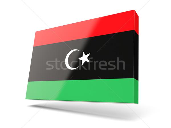 Placu ikona banderą Libia odizolowany biały Zdjęcia stock © MikhailMishchenko