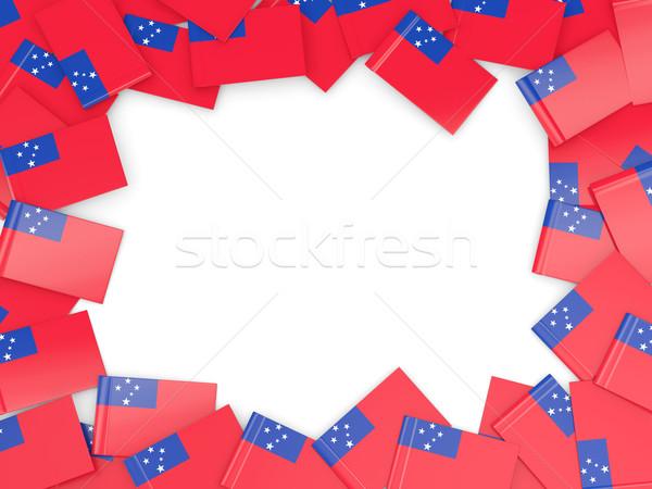 Frame vlag Samoa geïsoleerd witte Stockfoto © MikhailMishchenko