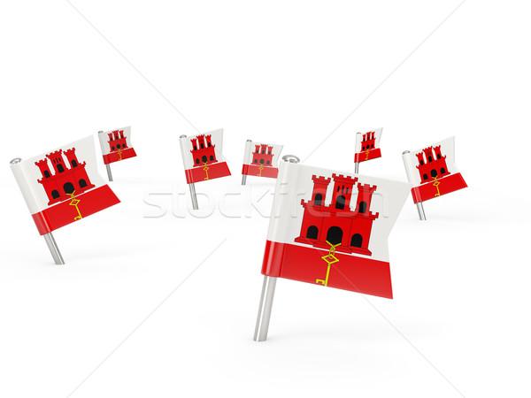 Placu banderą gibraltar odizolowany biały kraju Zdjęcia stock © MikhailMishchenko