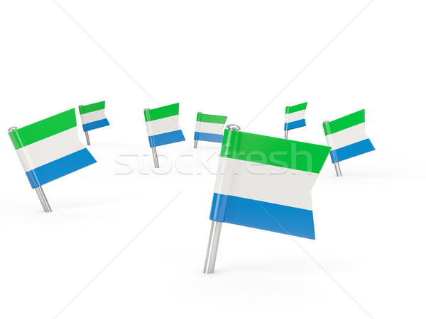 Square pins with flag of sierra leone Stock photo © MikhailMishchenko