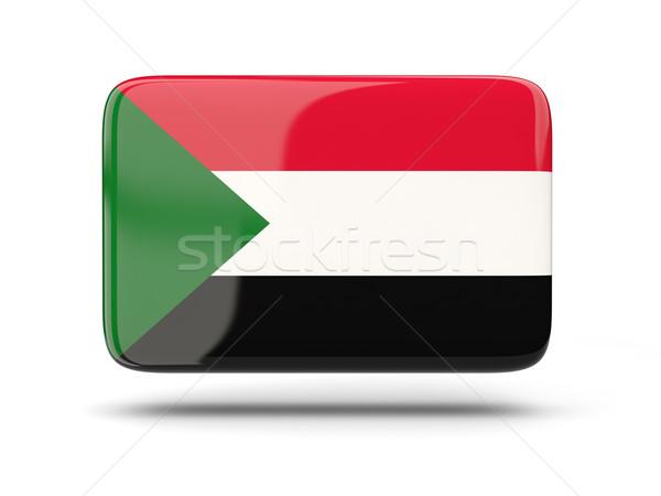 Placu ikona banderą Sudan cień podpisania Zdjęcia stock © MikhailMishchenko