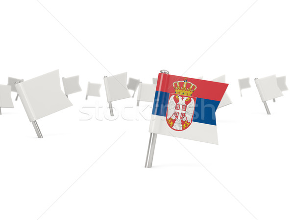 Square pin with flag of serbia Stock photo © MikhailMishchenko