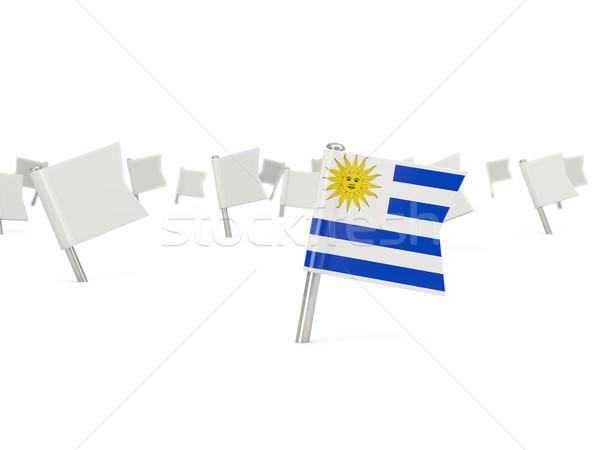 Tér tő zászló Uruguay izolált fehér Stock fotó © MikhailMishchenko