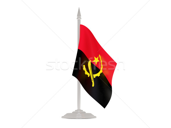 Flag of angola with flagpole. 3d render Stock photo © MikhailMishchenko