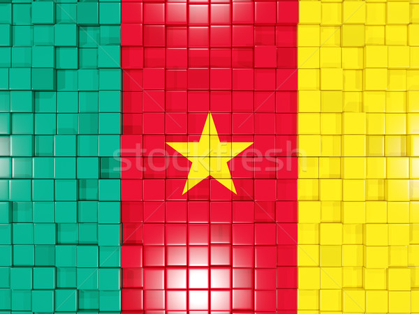квадратный флаг Камерун 3d иллюстрации мозаика Сток-фото © MikhailMishchenko