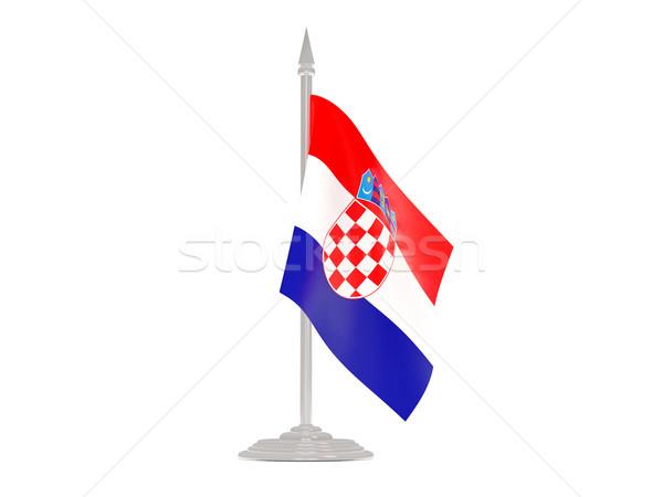 флаг Хорватия флагшток 3d визуализации изолированный белый Сток-фото © MikhailMishchenko