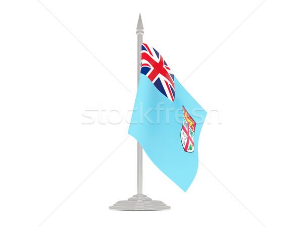 флаг Фиджи флагшток 3d визуализации изолированный белый Сток-фото © MikhailMishchenko