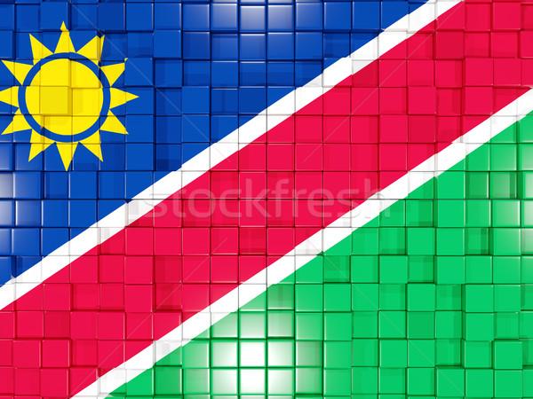 Kare bayrak Namibya 3d illustration mozaik Stok fotoğraf © MikhailMishchenko