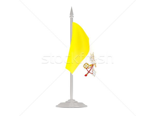 Vlag Vaticaanstad vlaggestok 3d render geïsoleerd witte Stockfoto © MikhailMishchenko