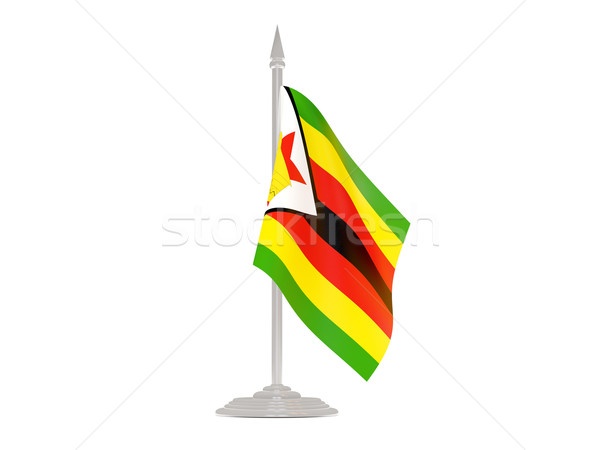 Flag of zimbabwe with flagpole. 3d render Stock photo © MikhailMishchenko