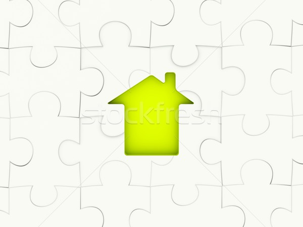 Stock photo: Puzzle with home sign