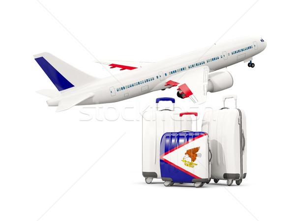 Bagagem bandeira americano três sacos avião Foto stock © MikhailMishchenko