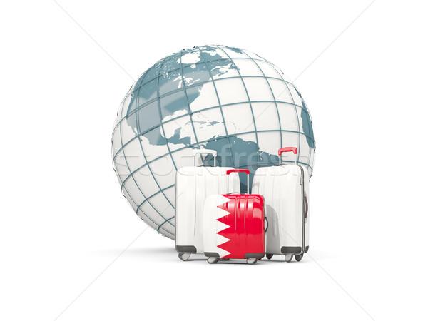 Bagaj bayrak üç çanta dünya 3d illustration Stok fotoğraf © MikhailMishchenko