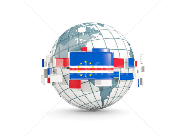 Globe with flag of cape verde isolated on white Stock photo © MikhailMishchenko