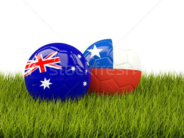 Kettő zászlók zöld fű 3d illusztráció futball zöld Stock fotó © MikhailMishchenko