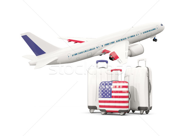 Luggage with flag of united states of america. Three bags with a Stock photo © MikhailMishchenko