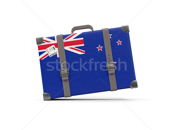 Luggage with flag of new zealand. Suitcase isolated on white Stock photo © MikhailMishchenko