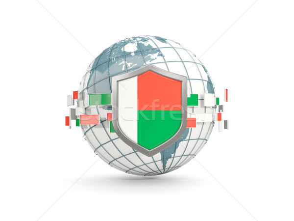 Globe and shield with flag of madagascar isolated on white Stock photo © MikhailMishchenko