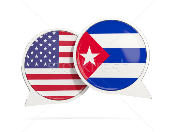 Chat bubbles of USA and Cuba isolated on white Stock photo © MikhailMishchenko