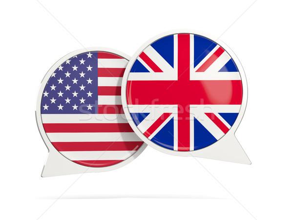 Chat bubbles of USA and UK isolated on white Stock photo © MikhailMishchenko
