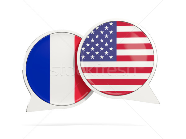 Stock photo: Chat bubbles of France and USA isolated on white