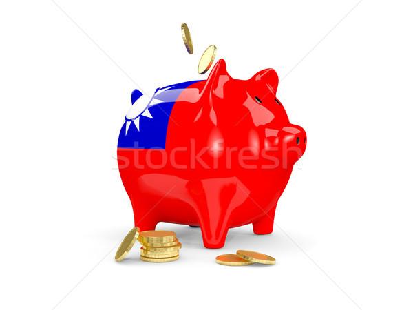 Gordura piggy bank Taiwan dinheiro isolado branco Foto stock © MikhailMishchenko