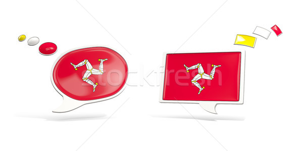 Two chat icons with flag of isle of man Stock photo © MikhailMishchenko