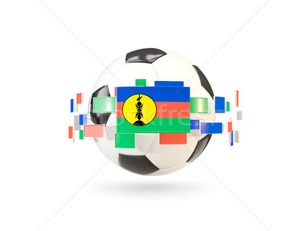 Soccer ball with line of flags. Flag of new caledonia Stock photo © MikhailMishchenko