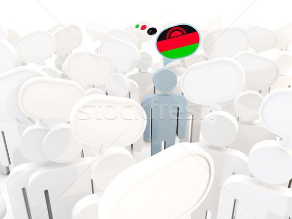 Man vlag Malawi menigte 3d illustration teken Stockfoto © MikhailMishchenko