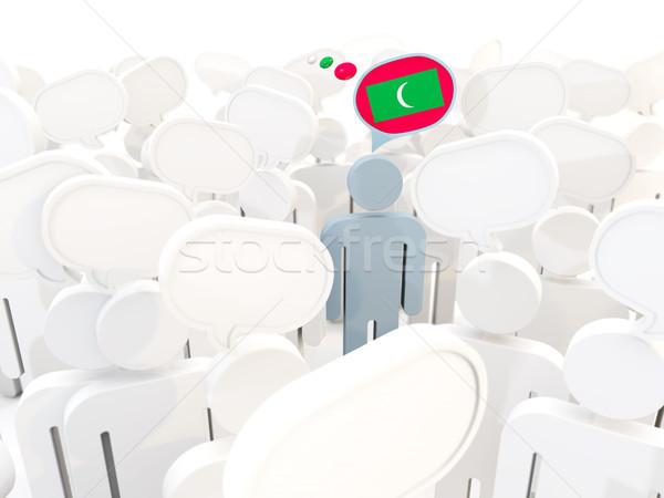 Сток-фото: человека · флаг · Мальдивы · толпа · 3d · иллюстрации · знак