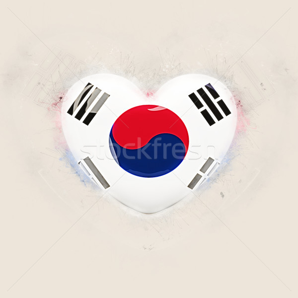 Kalp bayrak Güney Kore grunge 3d illustration seyahat Stok fotoğraf © MikhailMishchenko