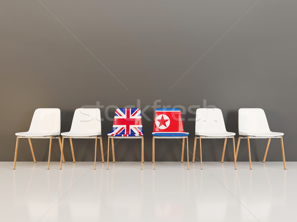 Chairs with flag of United Kingdom and north korea Stock photo © MikhailMishchenko