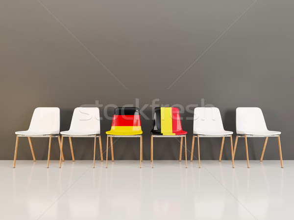 Chairs with flag of Germany and belgium in a row Stock photo © MikhailMishchenko