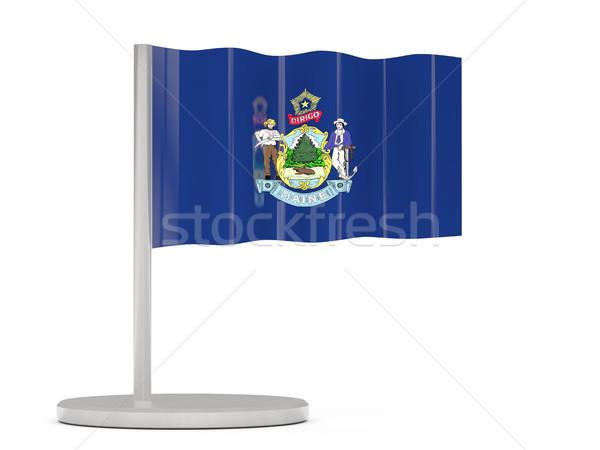 Bandiera pin Maine Stati Uniti locale bandiere Foto d'archivio © MikhailMishchenko