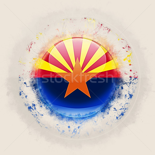 Arizona vlag grunge icon Verenigde Staten lokaal Stockfoto © MikhailMishchenko
