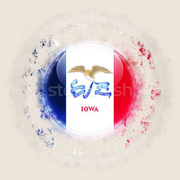 iowa state flag on a round grunge icon. United states local flag Stock photo © MikhailMishchenko