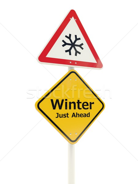 Winter Just Ahead road sign Stock photo © MikhailMishchenko