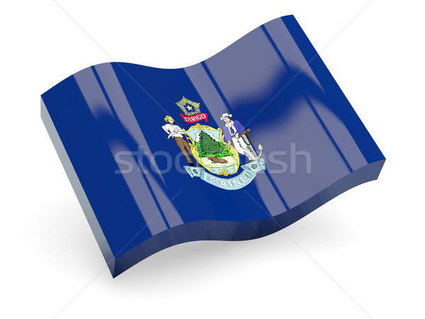 Stockfoto: Golvend · icon · Maine · vlag · 3D
