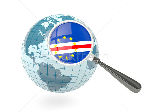 Magnified flag of cape verde with blue globe Stock photo © MikhailMishchenko