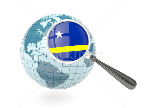 Magnified flag of curacao with blue globe Stock photo © MikhailMishchenko