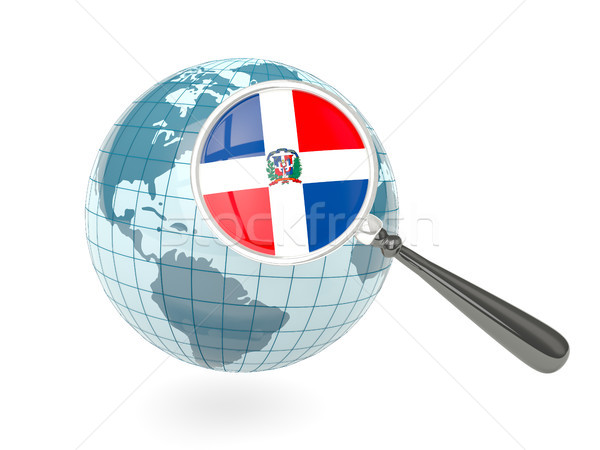 Magnified flag of dominican republic with blue globe Stock photo © MikhailMishchenko