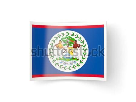 Postabélyeg ikon Belize izolált fehér felirat Stock fotó © MikhailMishchenko