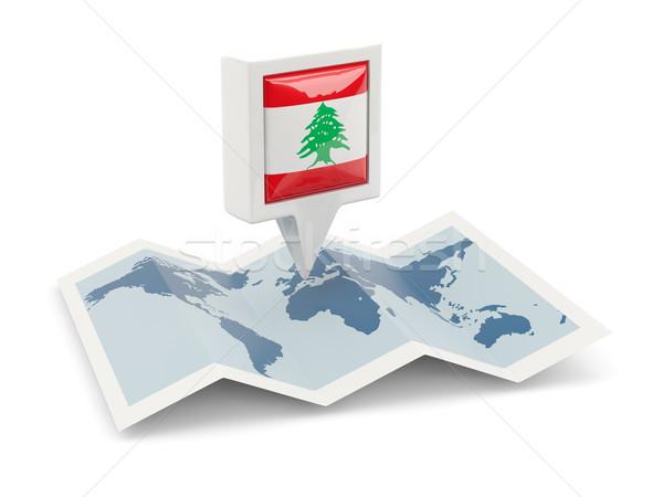 ストックフォト: 広場 · ピン · フラグ · レバノン · 地図 · 旅行