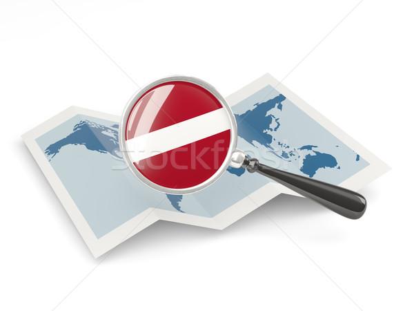 Vlag Letland kaart reizen Stockfoto © MikhailMishchenko