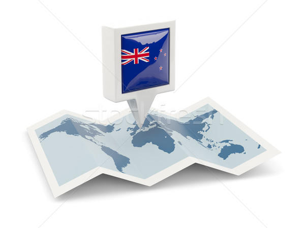 Square pin with flag of new zealand on the map Stock photo © MikhailMishchenko