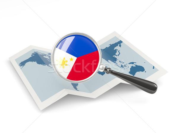 Nagyított zászló Fülöp-szigetek térkép izolált fehér Stock fotó © MikhailMishchenko