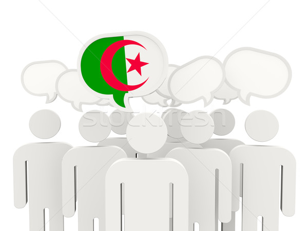 Personnes pavillon Algérie isolé blanche réunion Photo stock © MikhailMishchenko