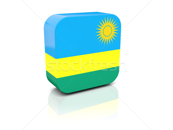 Carré icône pavillon Rwanda réflexion blanche Photo stock © MikhailMishchenko
